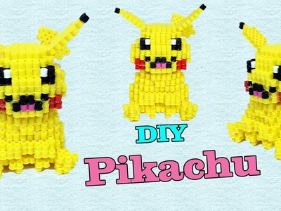Pokémon Pikachu in 3D con Hama Beads.Pyssla Tutorial ✿