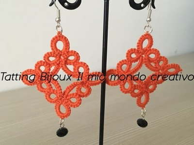 Orecchini Rombo al chiacchierino ad ago Diamond Earrings tatting needle