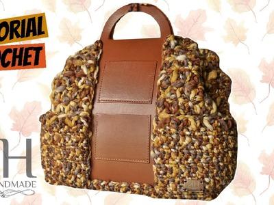 "Tutorial uncinetto maxi bauletto ""Mèlange"" | Crochet bag || Katy Handmade"
