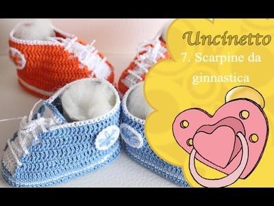 Uncinetto bimbi 7: scarpina ginnastica 3-6 mesi suola