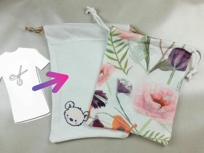 TUTORIAL: SACCHETTO.POUCH BAG riciclando una VECCHIA T-SHIRT