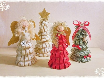 Alberi e Angeli natalizi in feltro senza cucire