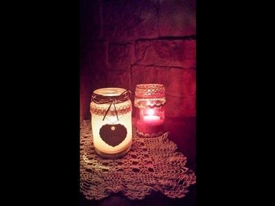 Addobbi natalizi Tutorial  DIY Lanterne shabby  Riciclo di barattoli in vetro