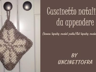 Cuscinetto natalizio all'uncinetto (tecnica tapestry crochet piatta.flat tapestry crochet)