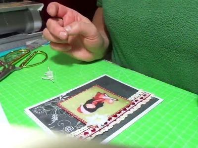 Semplice biglietto Natalizio  principianti .Christmas Gorjuss card  DIY