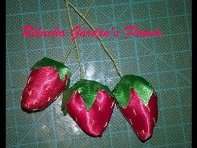 #28 - Fruta mod 2 - Morango de Cetim. DIY - Satin Flower.Fiore di Raso.kanzashi.Satin-Blume.サテン花