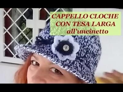 CAPPELLO CLOCHE CON TESA LARGA all'uncinetto
