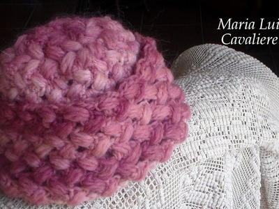 Cappello punto puff intrecciato all'uncinetto tutorial