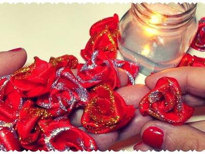 Tutorial: Rose di Raso Natalizie Senza Ago e Filo. DIY Christmas Fabric Roses NO SEW