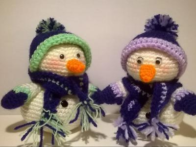 Pupazzo di Neve Uncinetto Amigurumi Tutorial-Crochet Snowman- Muneco de Nieve Croche