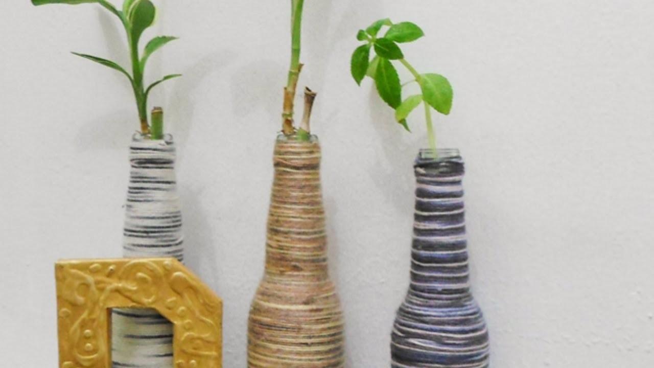 Crea dei Vasi-Bottiglie Ricoperti da Gomitoli - Fai da Te Casa - Guidecentral