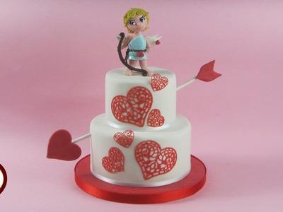 Cupido Cake Topper in pasta di zucchero - Torta San Valentino