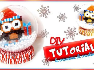 PALLA di NEVE con GUFETTO Natalizio Kawaii HAMA BEADS.PYSSLA - DIY Christmas Owl Snow Globe Tutorial