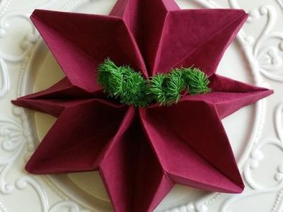 Come Piegare un tovagliolo, stella di Natale, Christmas Poinsettias  Napkin  Folding  Tutorial