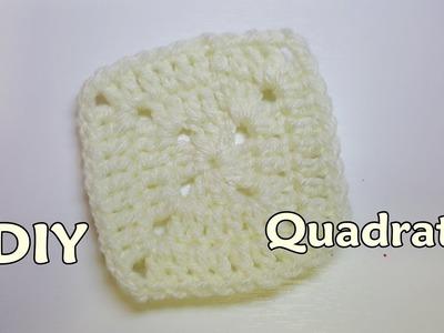 DIY tutorial piastrella quadrata all'uncinetto - Tutorial crochet square very easy - facilissima