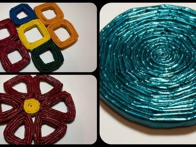 Tutorial: 3 Idee Per Sottobicchieri di Carta (ENG SUBS - DIY paper coasters\trivet)