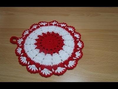Uncinetto Crochet Centrino  Bianco Rosso Presina