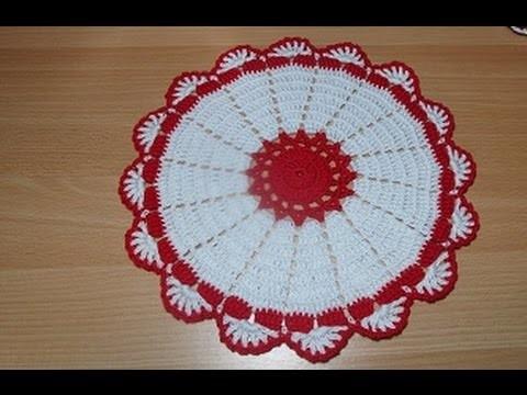 Uncinetto Crochet Centrino  Bianco Rosso Grande