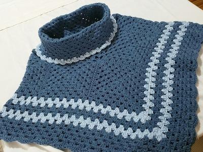 Poncho Uncinetto 2A parte.poncho crochet 2A
