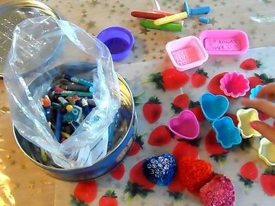 STAMPI coi colori A CERA! Tutorial riciclo creativo DIY by Lara e Babou
