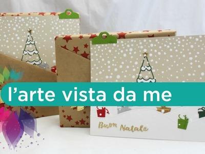 Packaging di Natale con tasca per Biglietto di Auguri-Come confezionare un regalo-Natale Fai da te