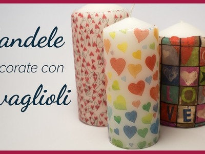 Tutorial: Candele Decorate con Tovagliolo di Carta (ENG SUBS - DIY decorated candle with napkin)
