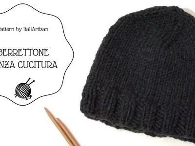 BERRETTONE SENZA CUCITURE, cappello ferri circolari, circular knitting, knitted beanie