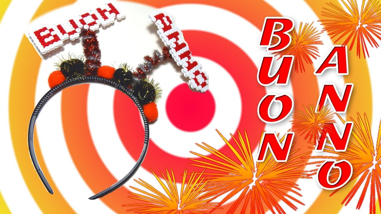 Cerchietto BUON ANNO.Happy New Year con Perline da Stirare Hama Beads - Tutorial Accessori Capodanno