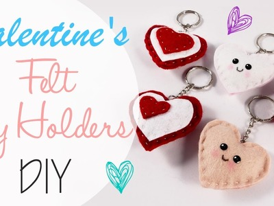 Cuori in Feltro porta chiavi - Felt Key holder Hearts DIY