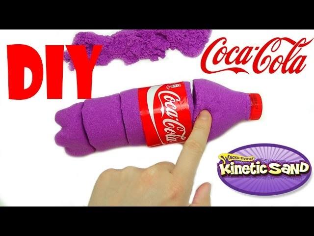 DIY KINETIC SAND COCA COLA, coca cola di sabbia modellabile, fai da te, creare una coca cola, pongo