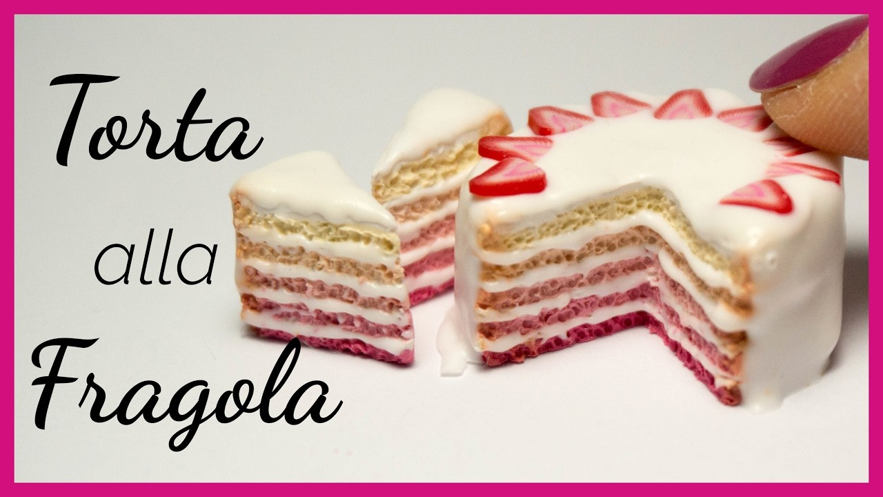 Tuto: Torta Ombre alla Fragola in Fimo (ENG SUBS - DIY miniature strawberry polymer clay ombre cake)
