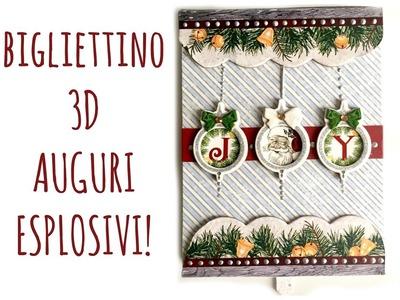 Card 3D di Natale: Auguri esplosivi! (scrapbooking. Natale) + estazione acquerelli PentelArte per Te