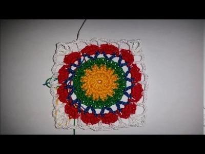 Mattonella con cerchi vari colori ad uncinetto
