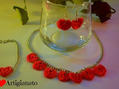 Collana, braccialetto, orecchini ad uncinetto San Valentino in 5 minuti.crochet Jewelry