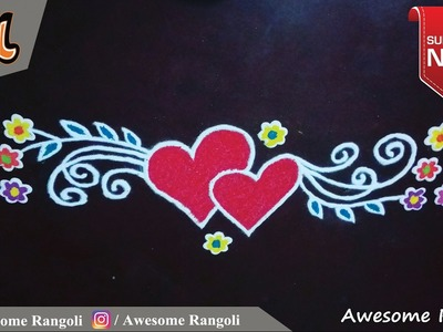 Valentine's Day Special Door Rangoli design tutorial. Border rangoli. Front door rangoli