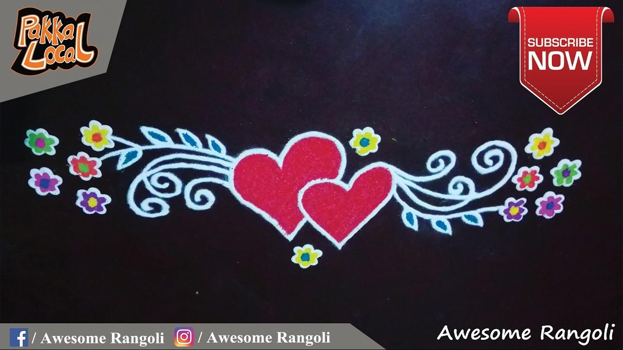 Valentine's Day Special Door Rangoli design tutorial. Border rangoli. Front door rangoli