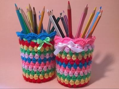 Vasetto Portapenne all'Uncinetto Tutorial - Crochet Pen Holder -Porta Lapis Croche