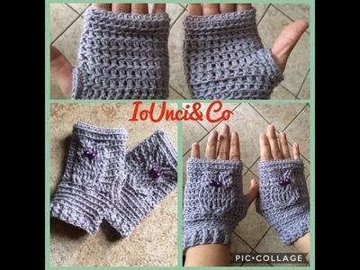 Mezzi guanti uncinetto con gufo tutorial