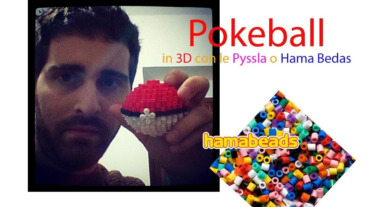 Montaggio della Pokeball in 3D con perline da stirare Pyssla