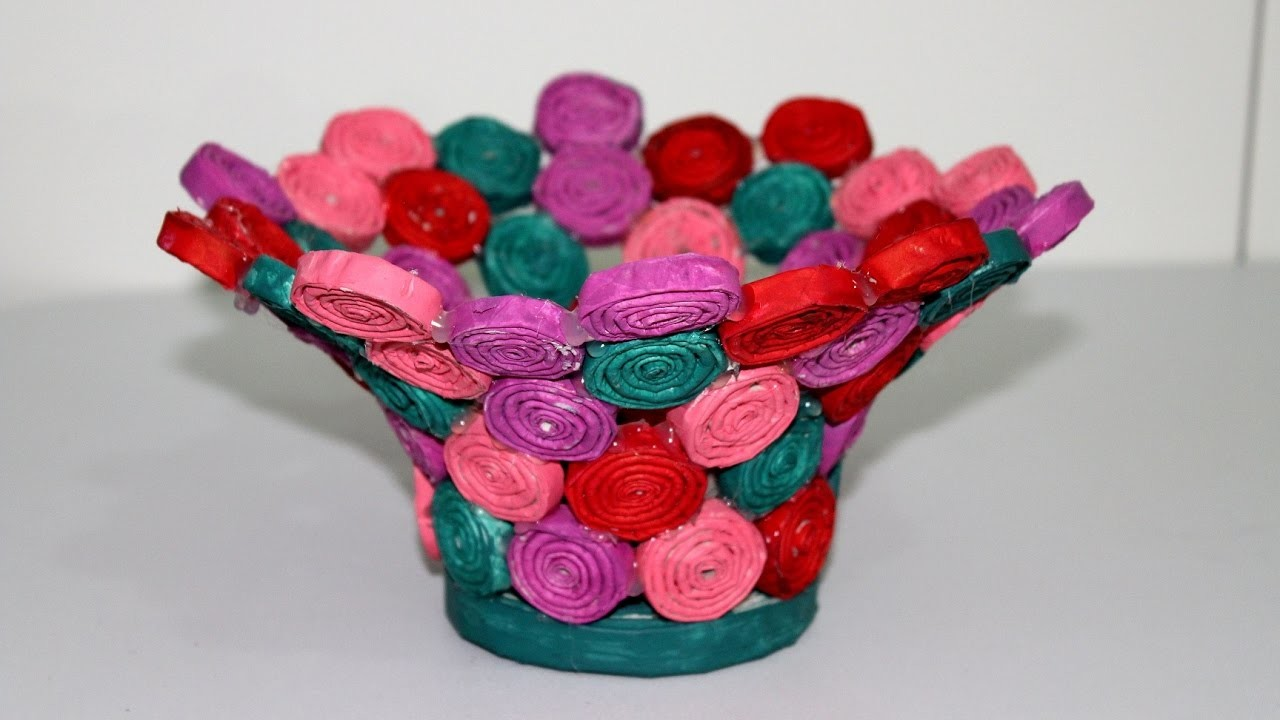Riciclo Creativo.Cestino fatto dei Giornali.DIY How to Make a Basket from Recycled Newspaper