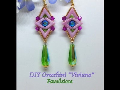 "Orecchini ""Viviana"" DIY, tutorial - AVA beads ,  Honeycomb Jewel"