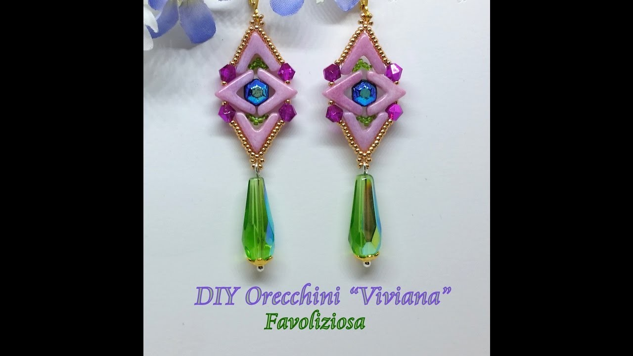 "Orecchini ""Viviana"" DIY, tutorial - AVA beads ,  Honeycomb Jewel"