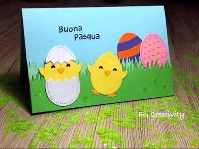 Tutorial Biglietto di Pasqua con Happy Hatchling di Lawn Fawn DIY Easter Card
