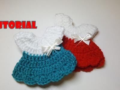 Tutorial Bomboniera VESTITINO all'uncinetto - crochet mini dress - facile - easy