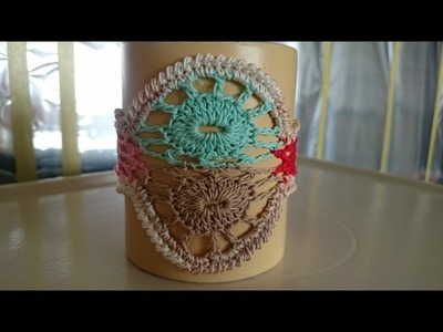 Diy crochet porta copo multicolor