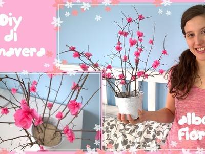 Diy di primavera.decorazioni di primavera.albero fiorito di rami e carta crespa