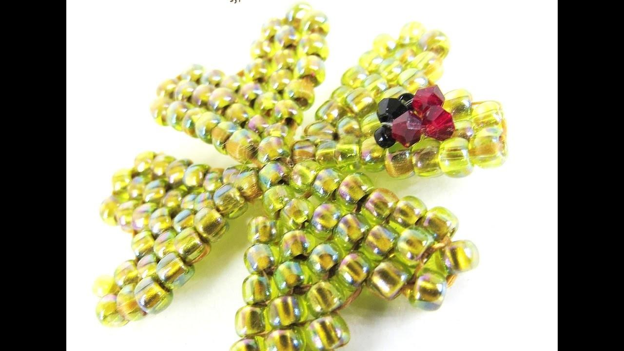 Tutorial ITA ENGsubt perline e cristalli: Coccinella su quadrifoglio: 1.1